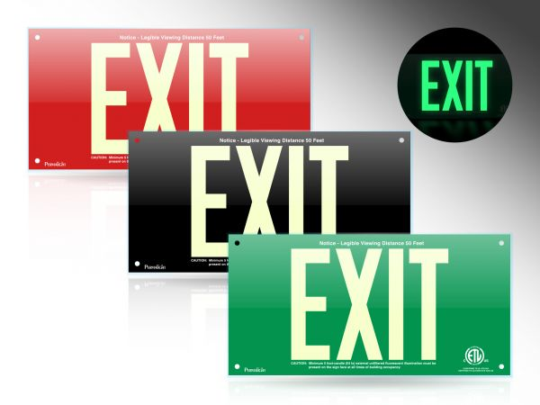 PERMALIGHT® Acrylic Photoluminescent Exit Signs
