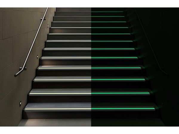 PERMALIGHT® 90° Photoluminescent Aluminum Stair Nosing