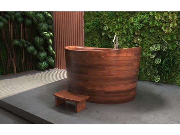Aquatica True Ofuro Duo Wooden Freestanding Japanese Soaking Bathtub