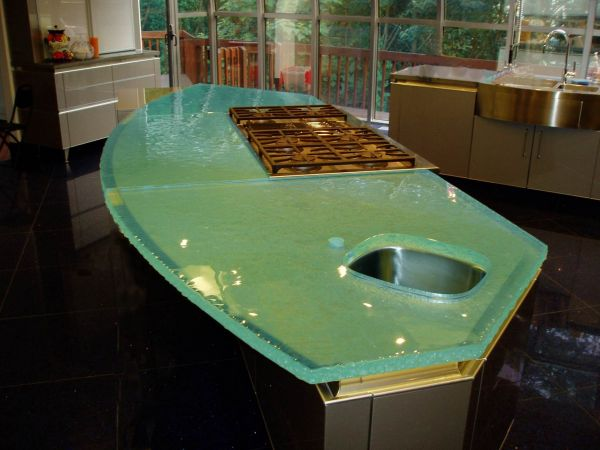 Fusion Glass Island Top