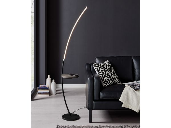 Monita LED floor lamp with wireless charging tray