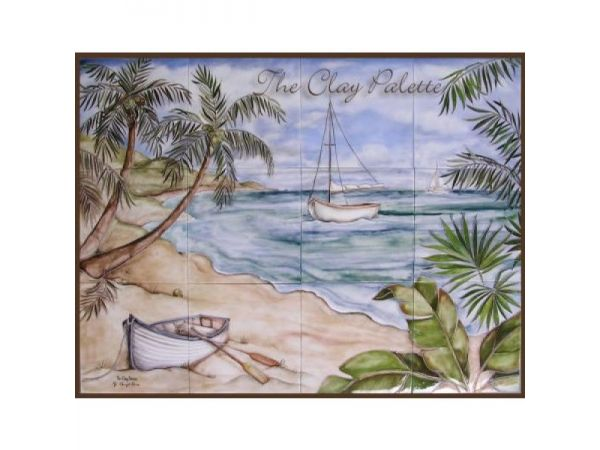 Seascape with Palms Mural & Accents