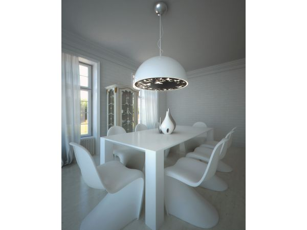 Atitlan Ceiling Lamp White Cap Black Plate