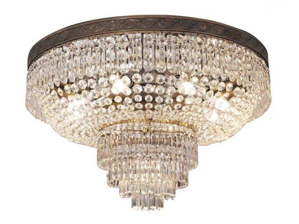 Waldorf Astoria Duke of Windsor Suite Main Room Flush Mount Crystal Chandelier