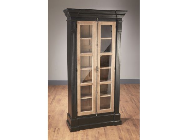 43558-BP  Two Door Bookcase, Black with Pickled Finish