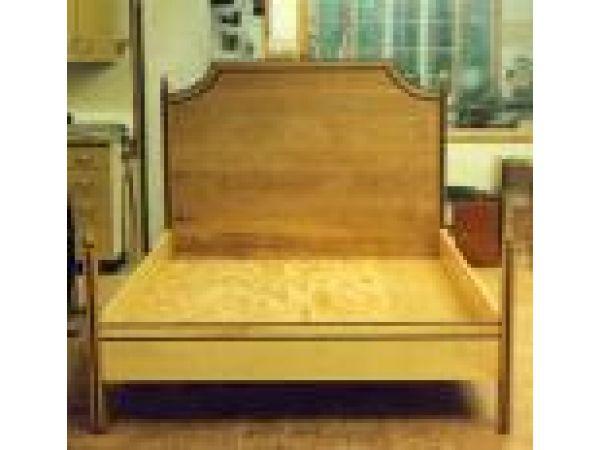 Birdseye Maple Bed With Walnut Details