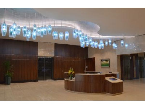 Custom Art Glass Lighting Helps Create Extraordinary Office Building Lobbies