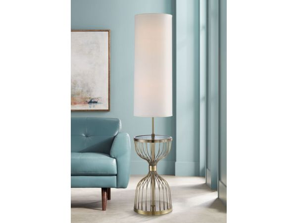 Brass Tray Floor Lamp