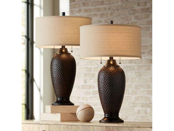 Cody Hammered Bronze Lamp Set with WiFi Smart Sockets