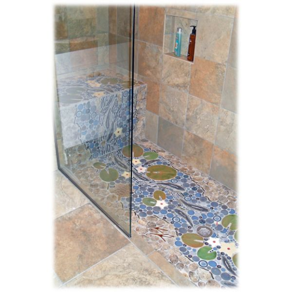 New Design Journal, Archinterious | Trout waterfall/stream mosaic tile  AA62