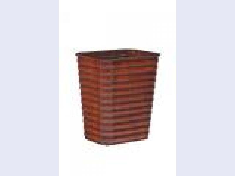 Ribbed Pine Wastebasket-Small w/insert1