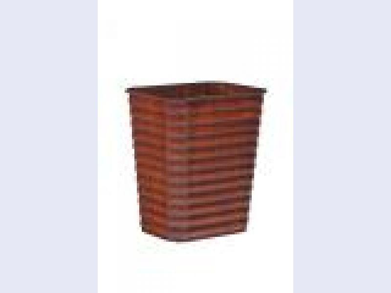 Ribbed Pine Wastebasket-Large