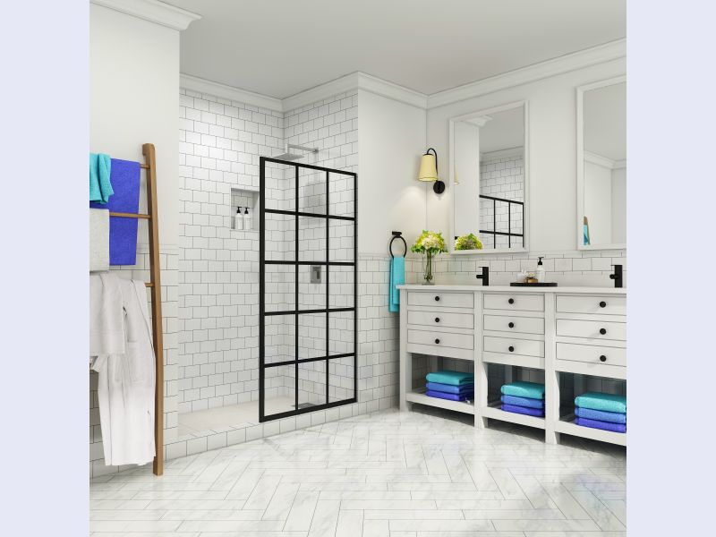 Aston Durance Frameless French-Style Fixed Shower Door Screen with StarCast Coating