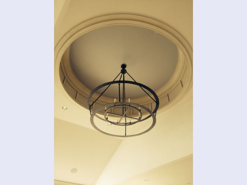 Custom designed and fabricated forged iron chandelier