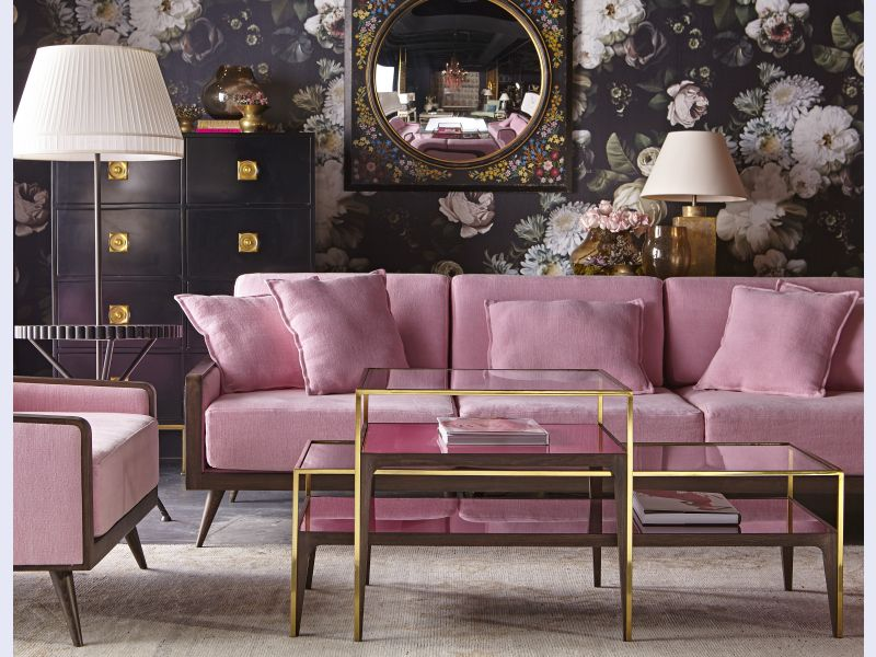 BOYD FOR RESOURCE DECOR - RUBYLITE COFFEE TABLE - PINK GLASS