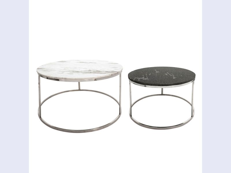 Set of Two Marble and Silver Accent Tables