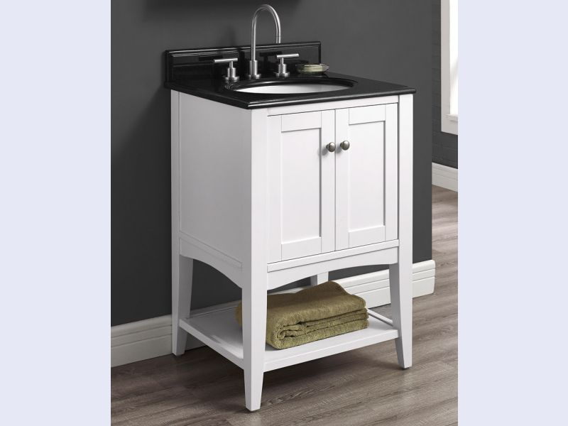 Shaker Americana 24 Open Shelf Vanity - Polar White