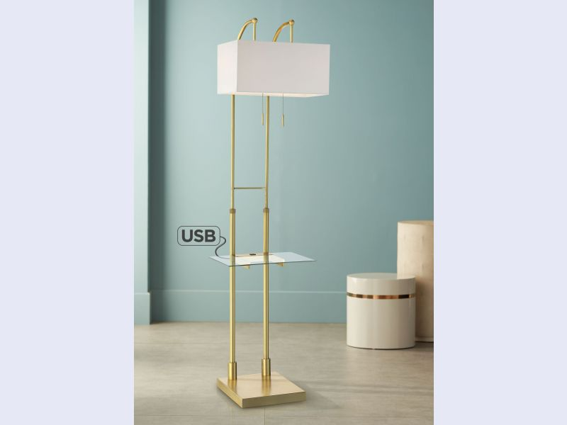 Otto Downbridge Floor Lamp with Tray Table and USB