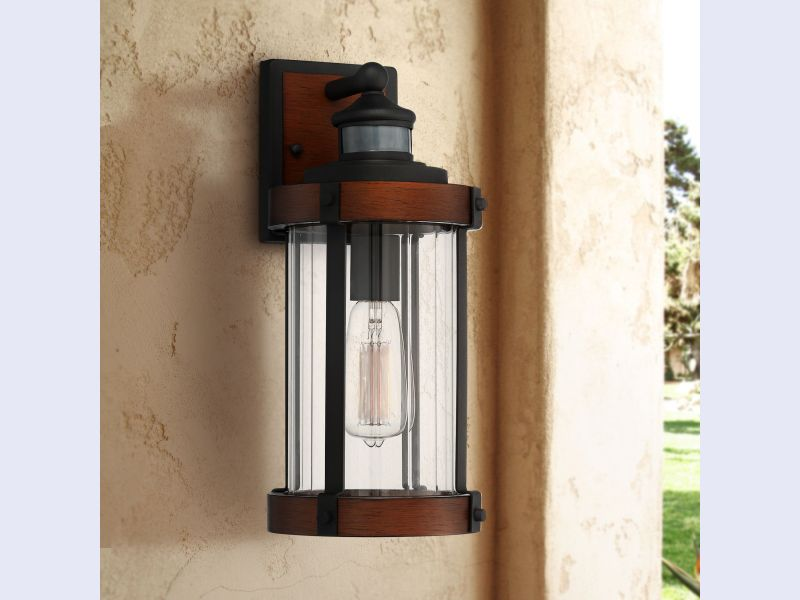 Utley High Dark Wood and Black Outdoor Wall Light