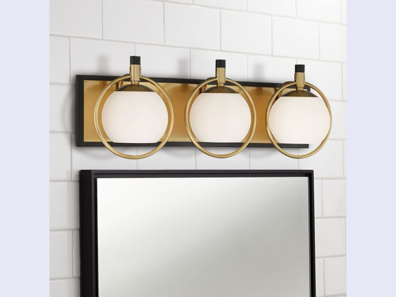 Carlyn Warm Antiqued Brass and Black 3-Light Bath Light