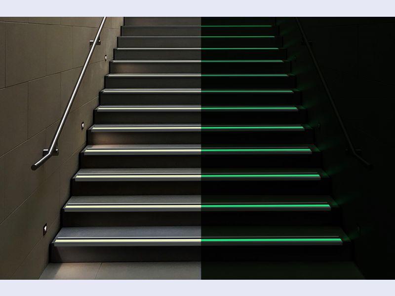 PERMALIGHT® 90° Photoluminescent Aluminum Stair Nosing