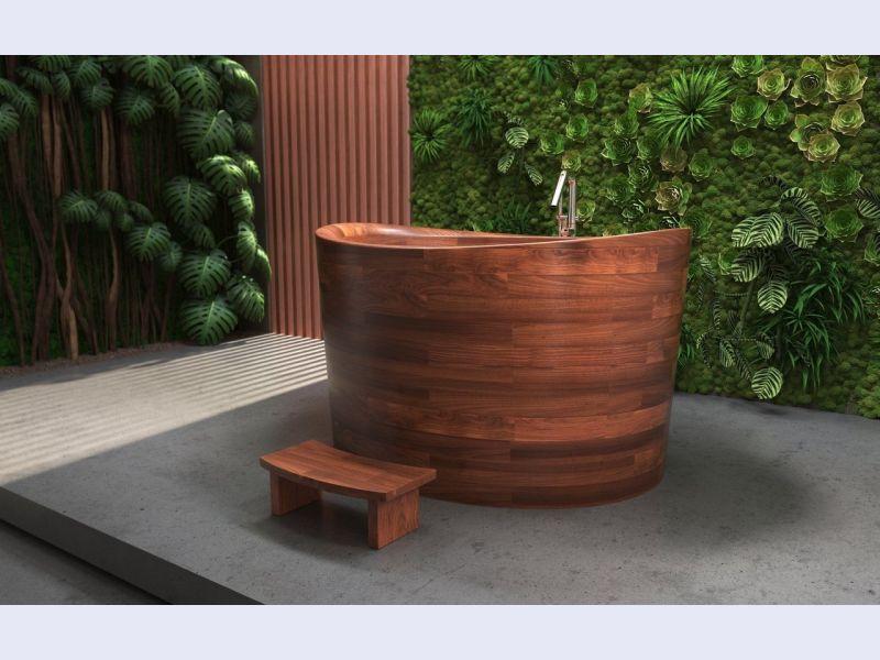 Aquatica True Ofuro Duo Wooden Freestanding Japanese Soaking Bathtub
