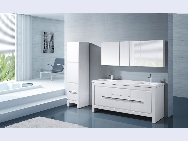 Vicenza 72 Glossy White with Vicenza 18 Linen Cabinet
