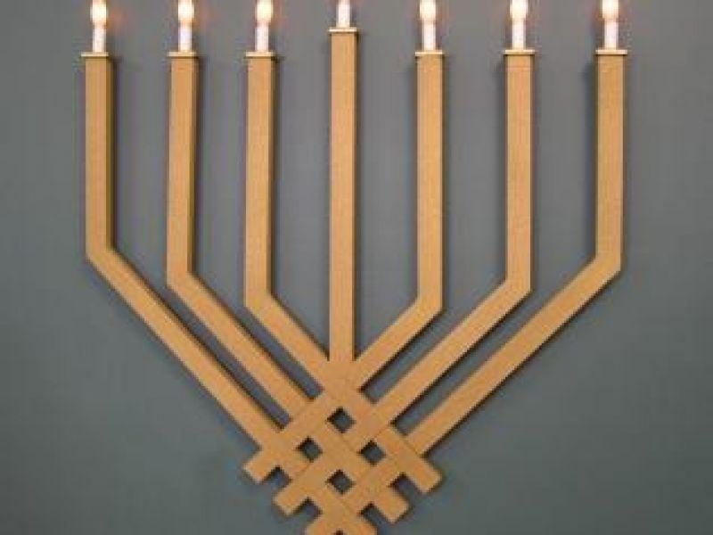 Wall Mount Synagogue Menorah-Woven