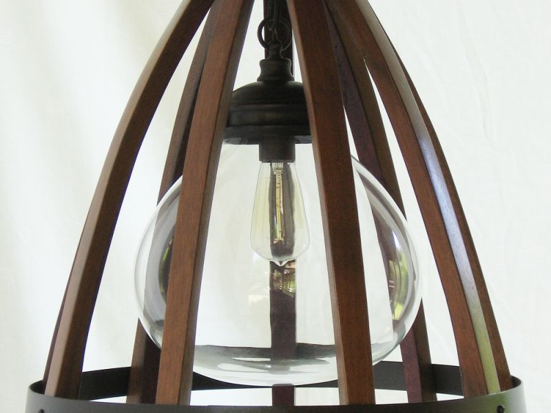 Medusa, recycled oak wine barrel staves, hoop hanging pendant light, ceiling lamp with glass shade