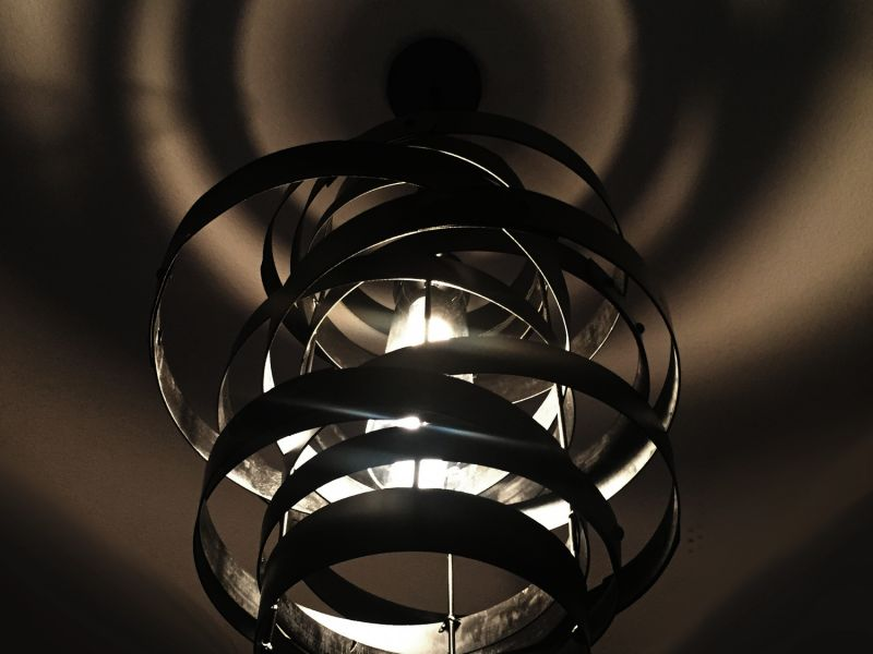 VORTEX, RECYCLED WINE BARREL METAL HOOPS PENDANT LIGHT