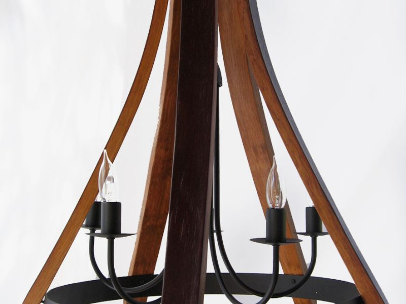 Cervantes wine barrel Chandelier recycled oak staves and hoop pendant light