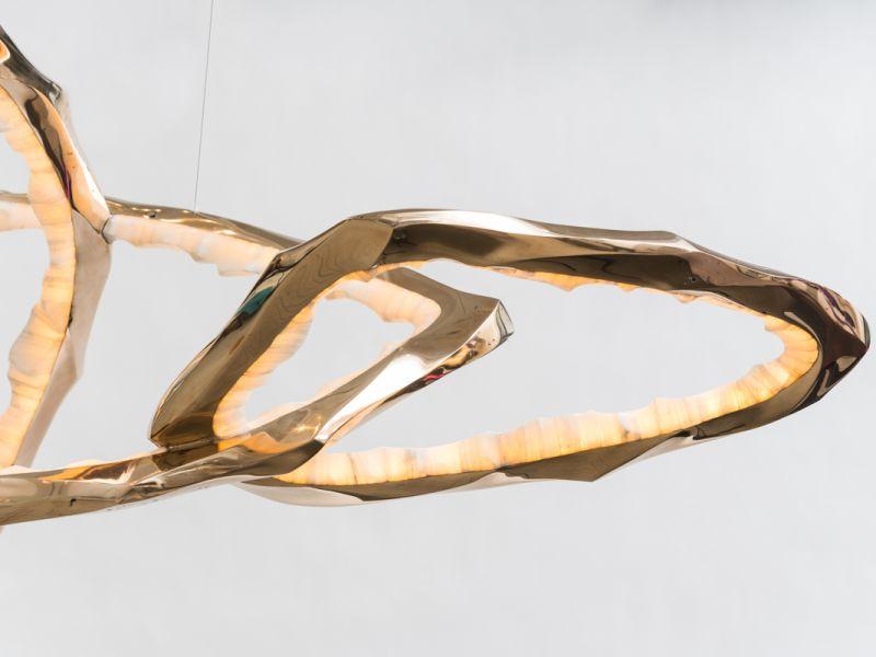 Markus Haase, Bronze and Onyx Chandeliers