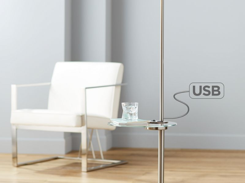 oVogue USB Floor Lamp with Tray Table