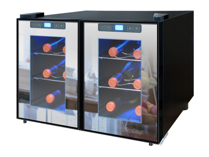 NEW: Vinotemp 12-Bottle Dual-Zone Touch Screen Thermoelectric Mirrored Wine Cooler