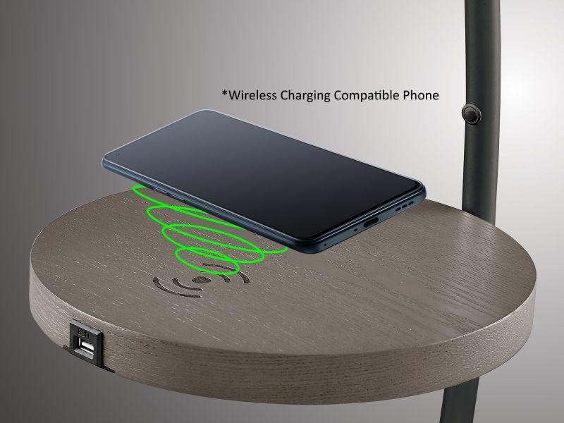 Monita LED floor lamp with wireless charging tray