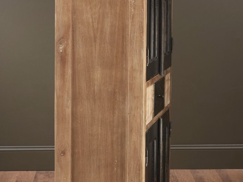 43839-PB  Four Door Cabinet, Pickled with Black Finish