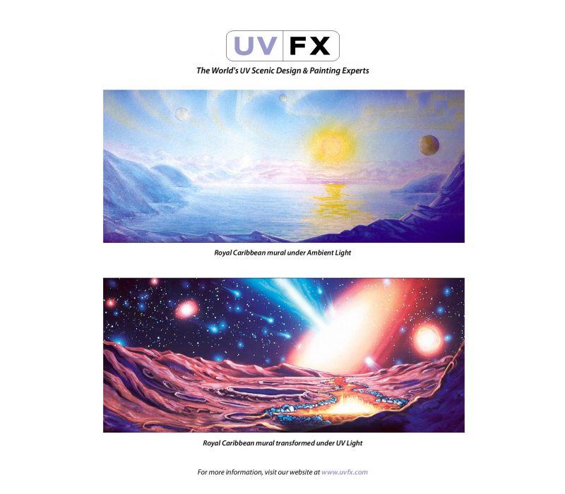 Royal Carribean Mural Transformed Under UV Light