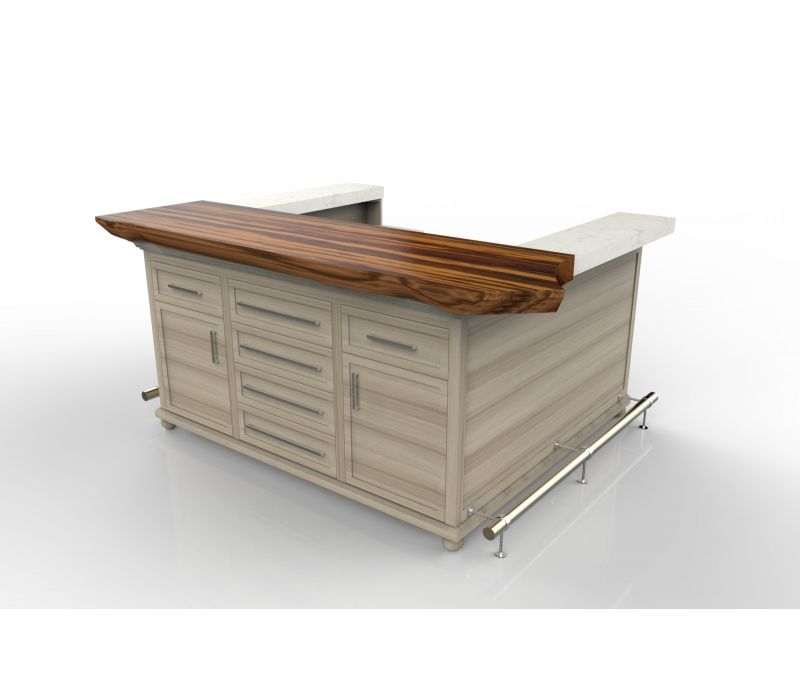 Kitchen Bar with Tigerwood Slab Top
