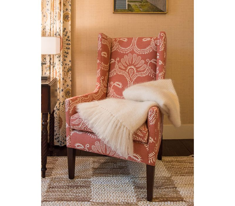 Hillevi in Red on wing back chair