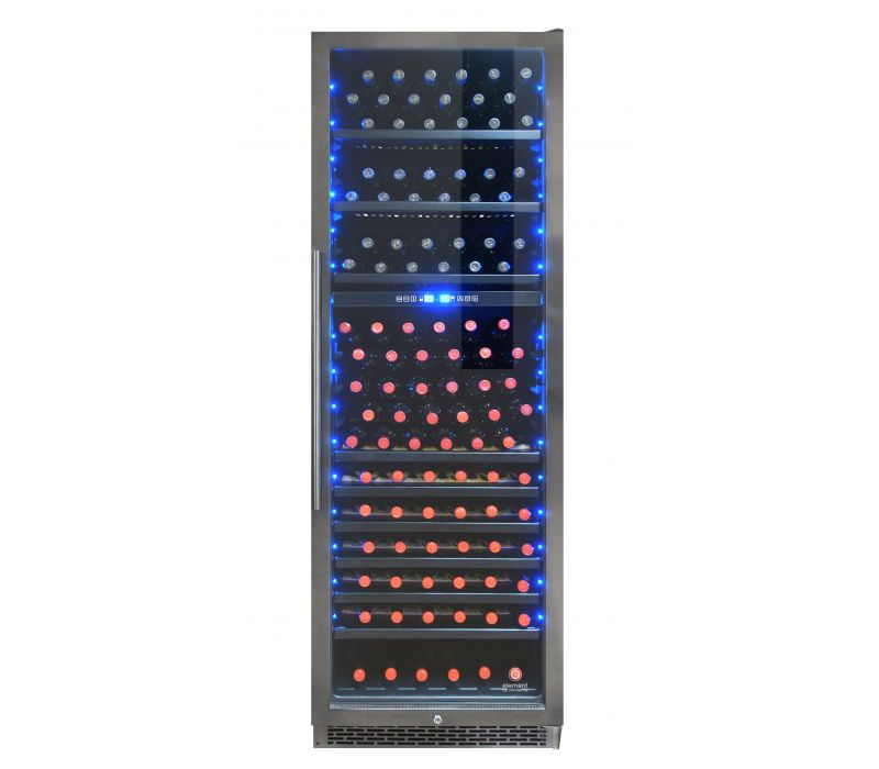 Element by Vinotemp 168 Bottle Smoked Black Stainless Steel Dual-Zone Wine Cooler