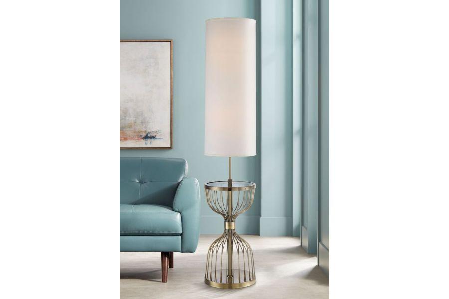 Brass Tray Floor Lamp